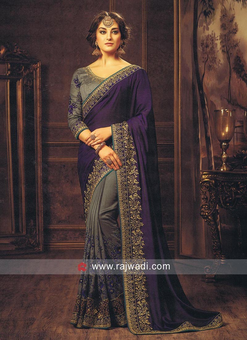 Art Silk Designer Half n Half Sari