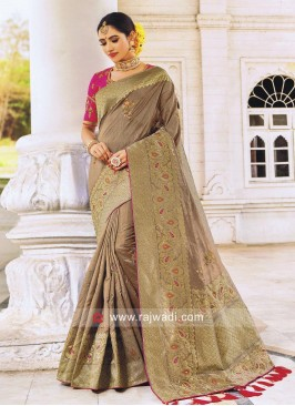 Art Silk Designer Saree in Dark Beige