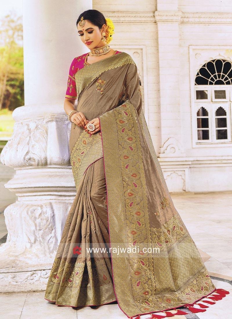 Art Silk Designer Saree in Dark Beige