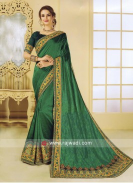 Art Silk Designer Saree in Green