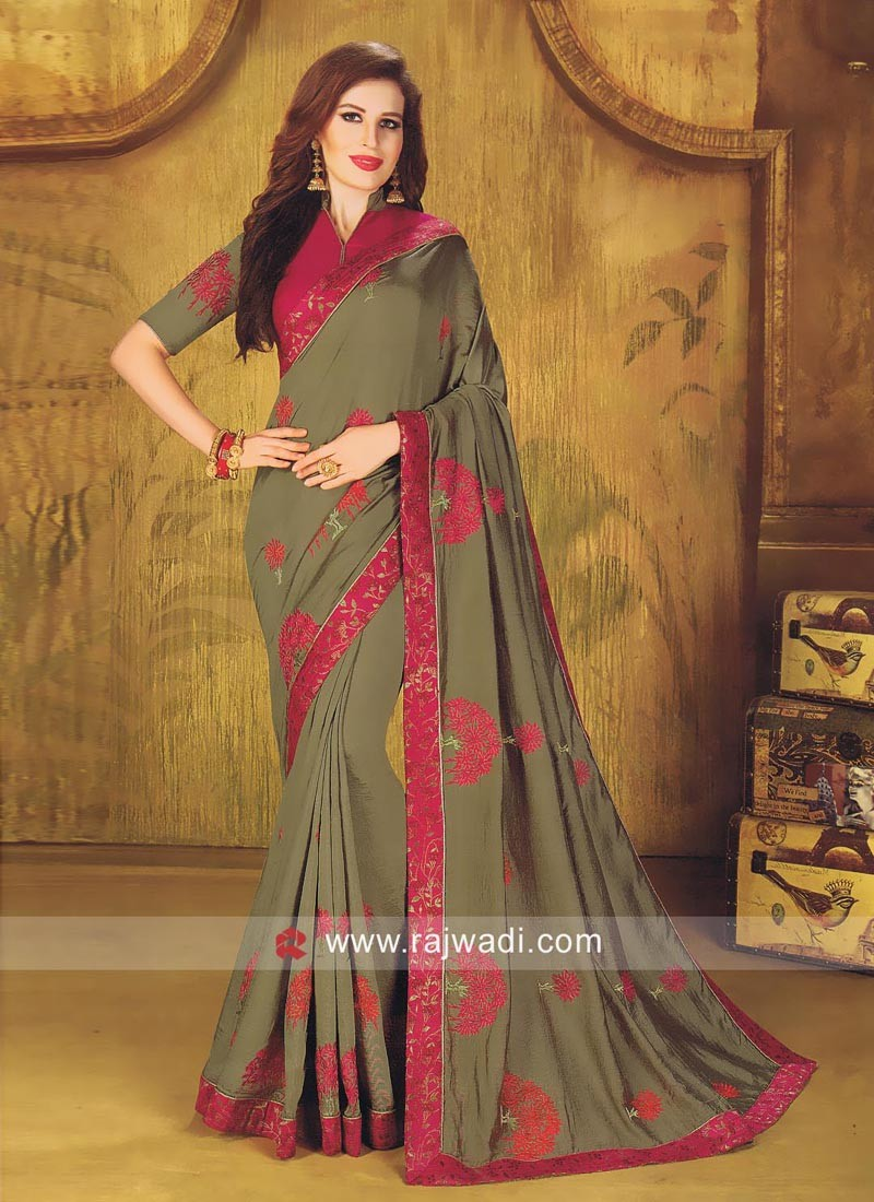 Art Silk Designer Saree with Blouse
