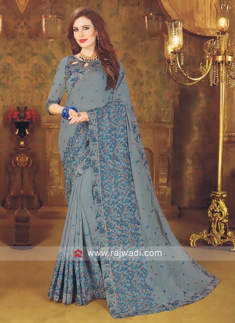 Art Silk Designer Saree with Border