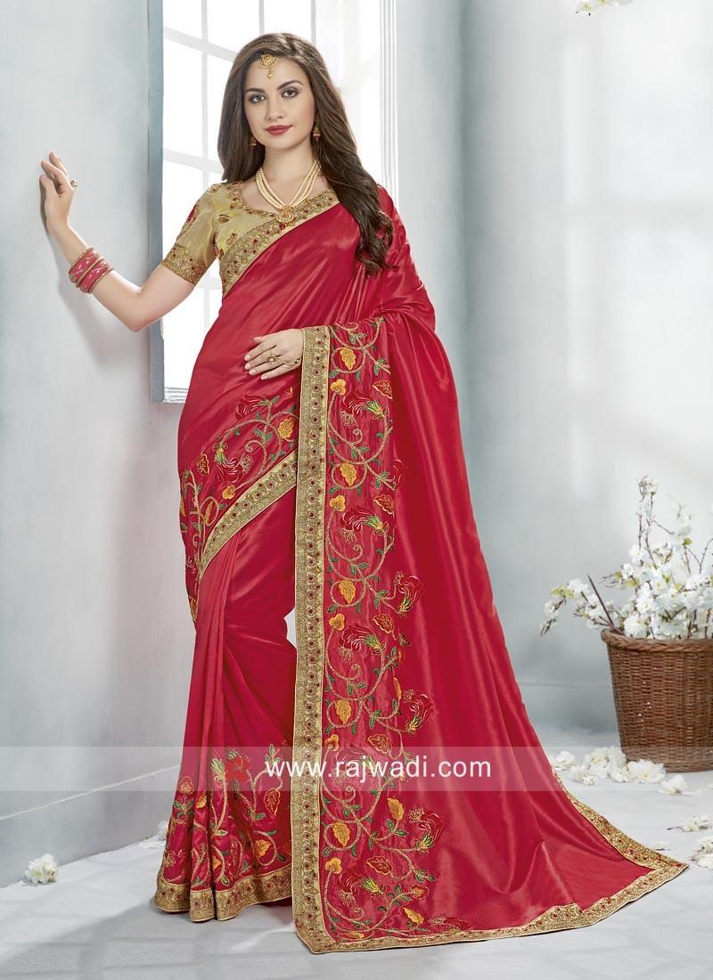 Art Silk Designer Saree with Contrast Blouse