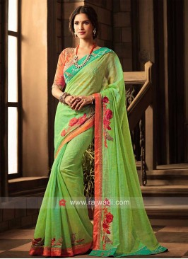 Art Silk Designer Sari with Blouse
