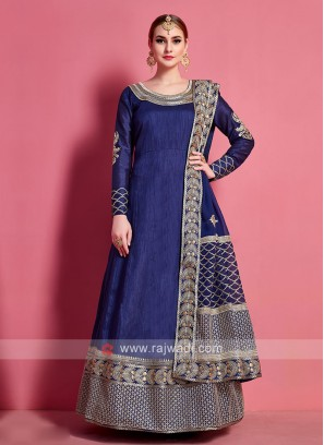 Art Silk Dress Material In Navy