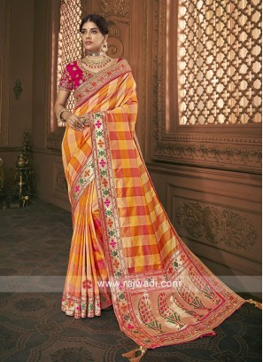 Art Silk Embroidered Checks Saree