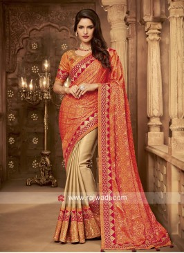 Art Silk Embroidered Half n Half Saree