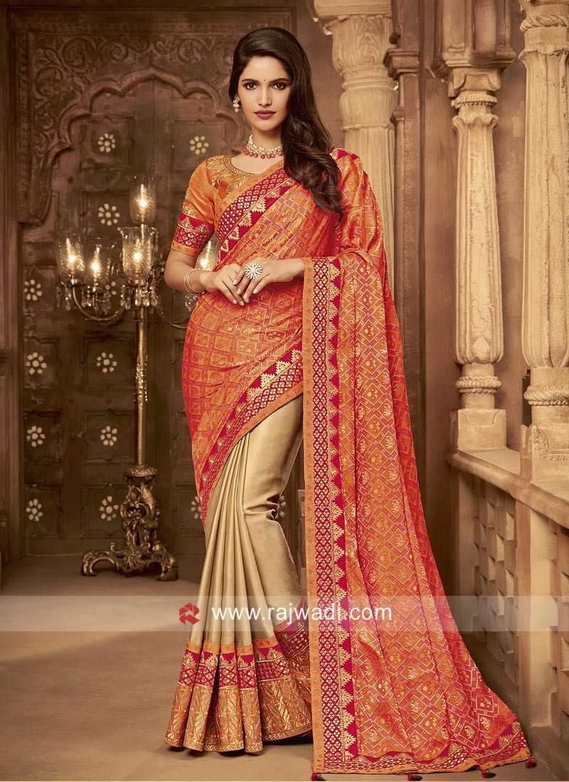 Art Silk Embroidered Half n Half Saree
