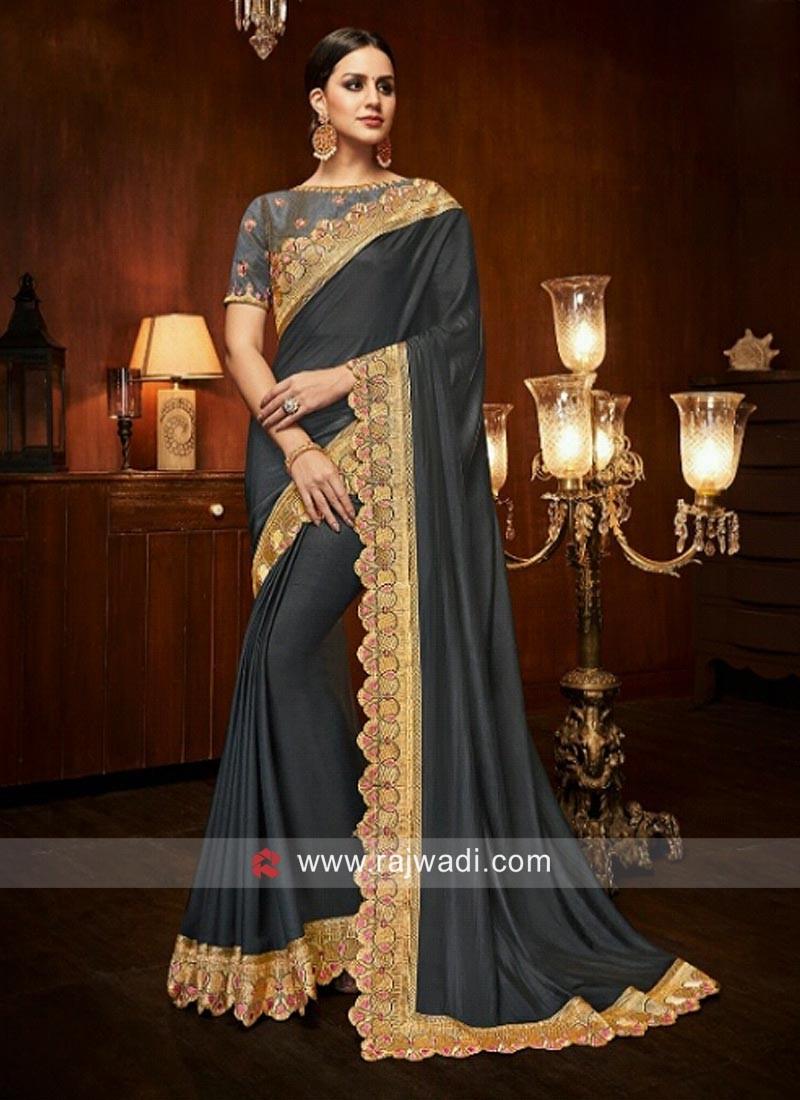 Art Silk Embroidered Saree in Dark Grey