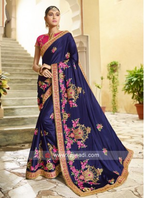 Art Silk Embroidered Saree in Purple