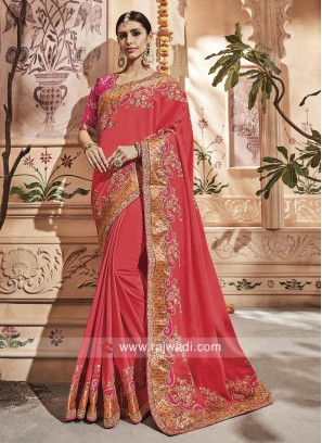 Art Silk Embroidered Saree with Blouse