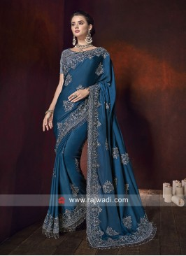 Art Silk Embroidered Saree with Border