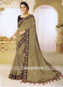Art Silk Embroidered Saree with Tassels
