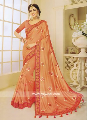 Art Silk Embroidered Sari in Orange