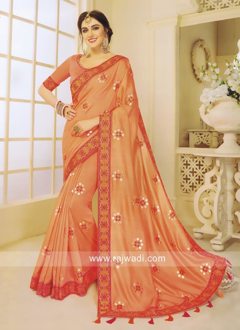 Art Silk Embroidered Sari in Orange