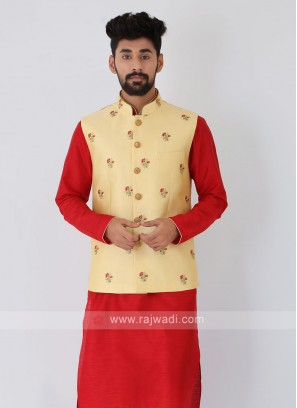 Art Silk Embroidered Yellow Color Nehru Jacket