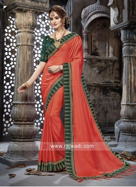Art Silk Embroidery Border Saree