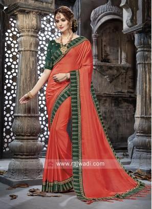 Art Silk Embroidery Border Saree