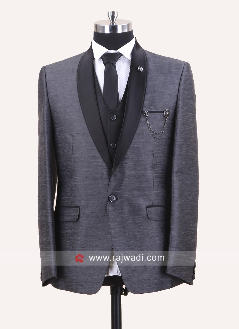 Art Silk Fabric Dark Grey Suit