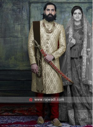 Art Silk Fabric Indo Western Sherwani For Wedding
