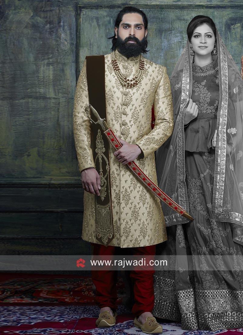 Art Silk Fabric Indo Western Sherwani For Wedding
