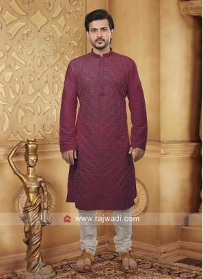 Dupion Silk Fabric Kurta Pajama