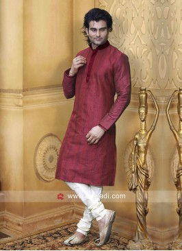 Dupion Silk Fabric Kurta Pajama For Wedding