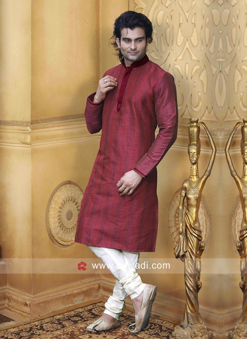Dupion Silk Fabric Kurta Pajama For Wedding