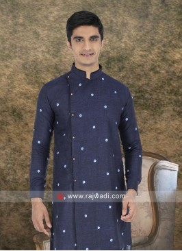 Blue Linen Fabric Kurta For Wedding