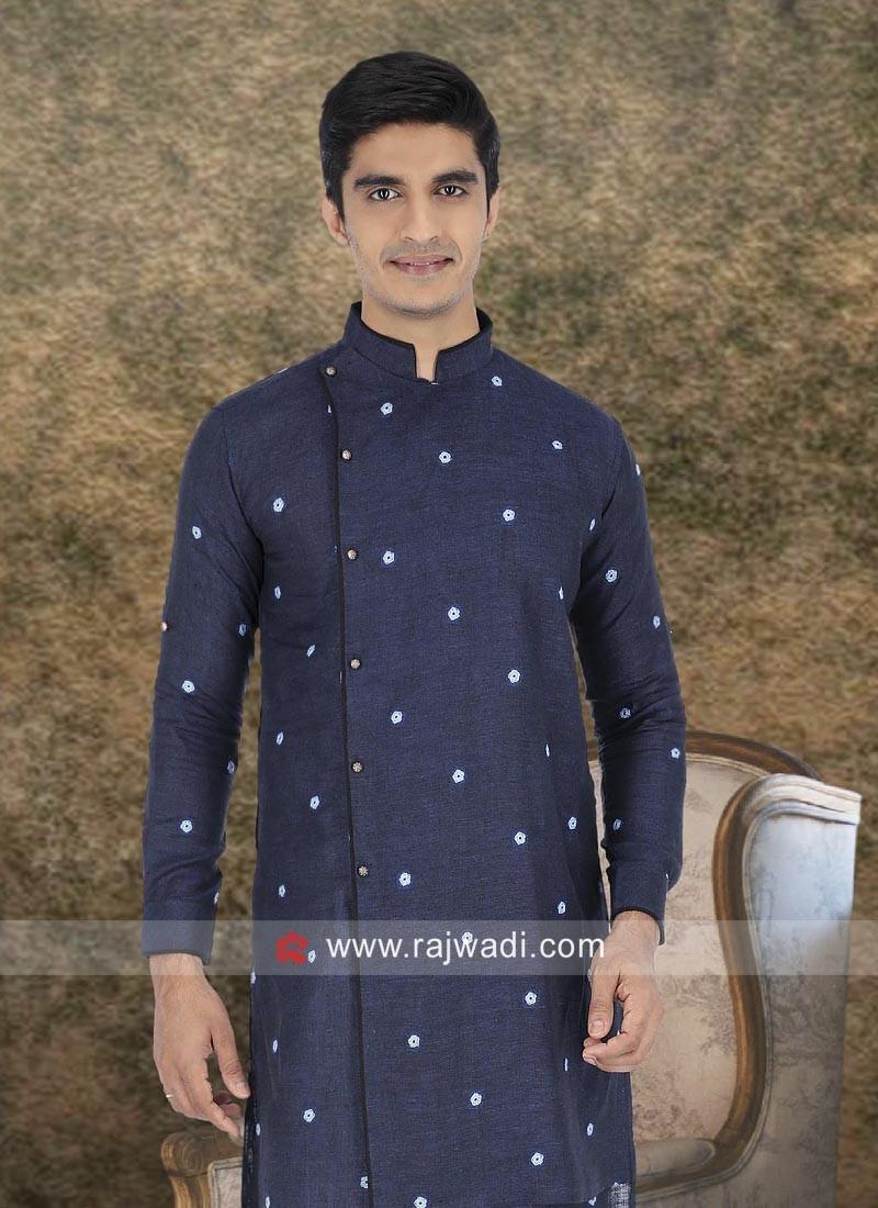 Blue Linen Fabric Kurta For Wedding