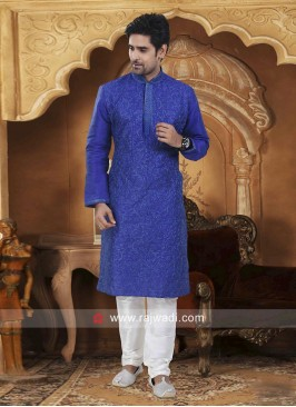 Blue Dupion Silk Fabric Mens Kurta Pajama