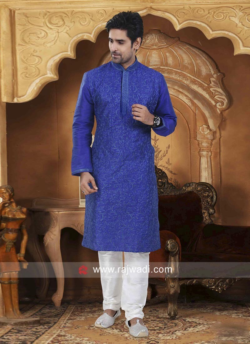 Blue Dupion Silk Fabric Mens Kurta Pajama