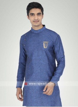 Blue Linen Fabric Kurta For Party