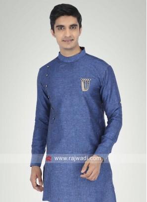 Blue Linen Fabric Kurta For Party