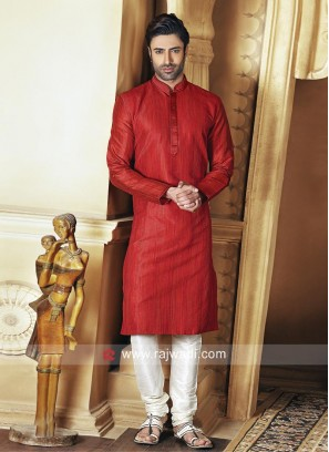 Dupion Silk Fabric Mens Kurta Set