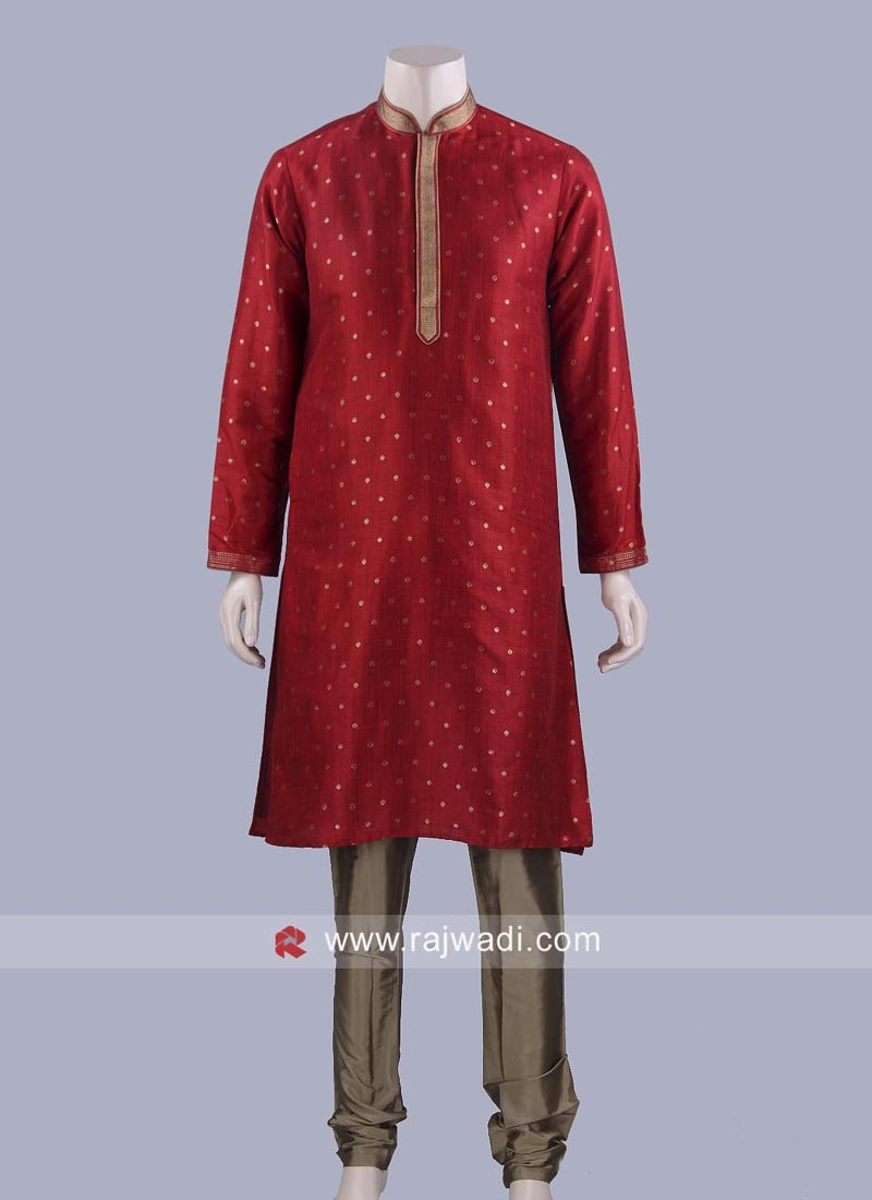 Art Silk Fabric Mens Kurta Set