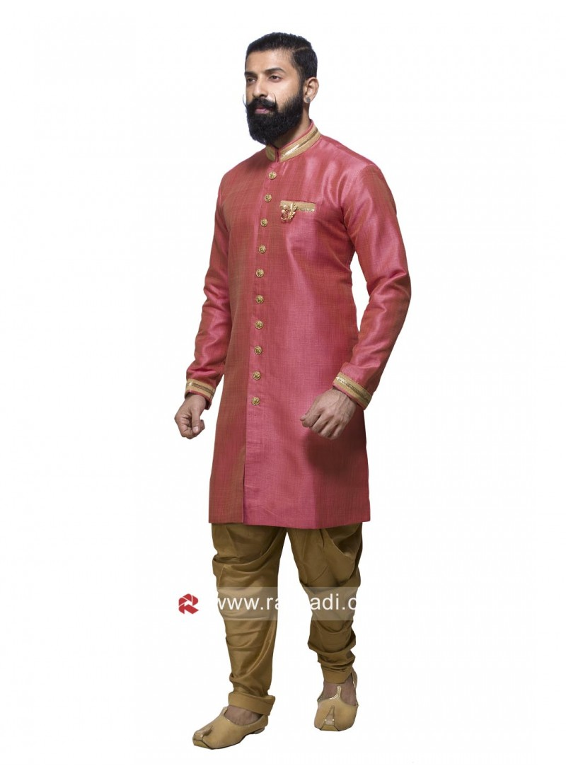 Art Silk Fabric Mens Patiala Suit