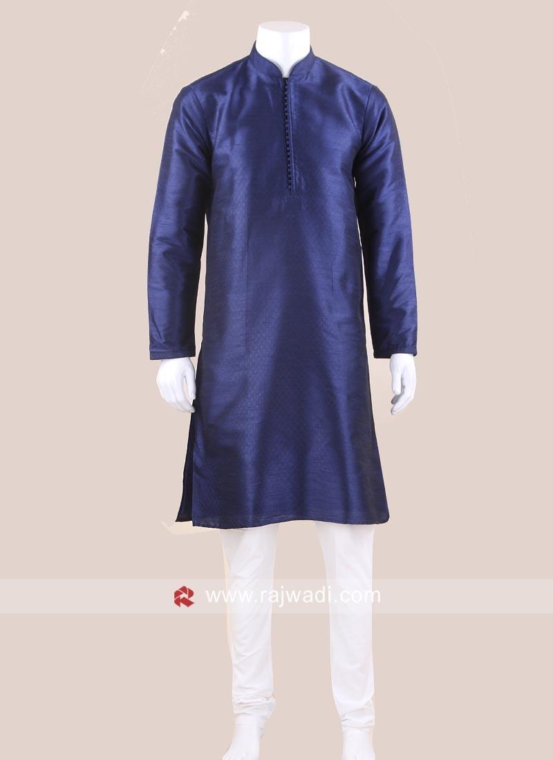 Art Silk Fabric Navy Kurta Pajama