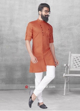 Linen Cotton Fabric Pathani Set In Orange Color