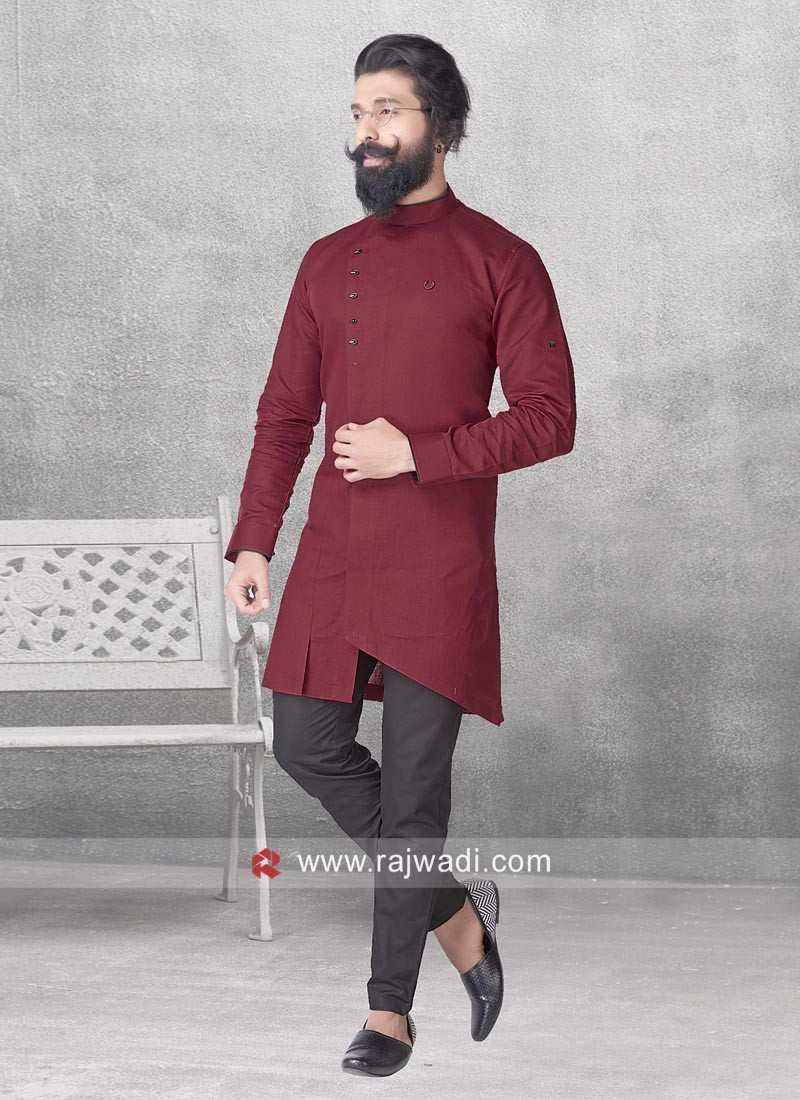 Linen Fabric Maroon Pathani Suit