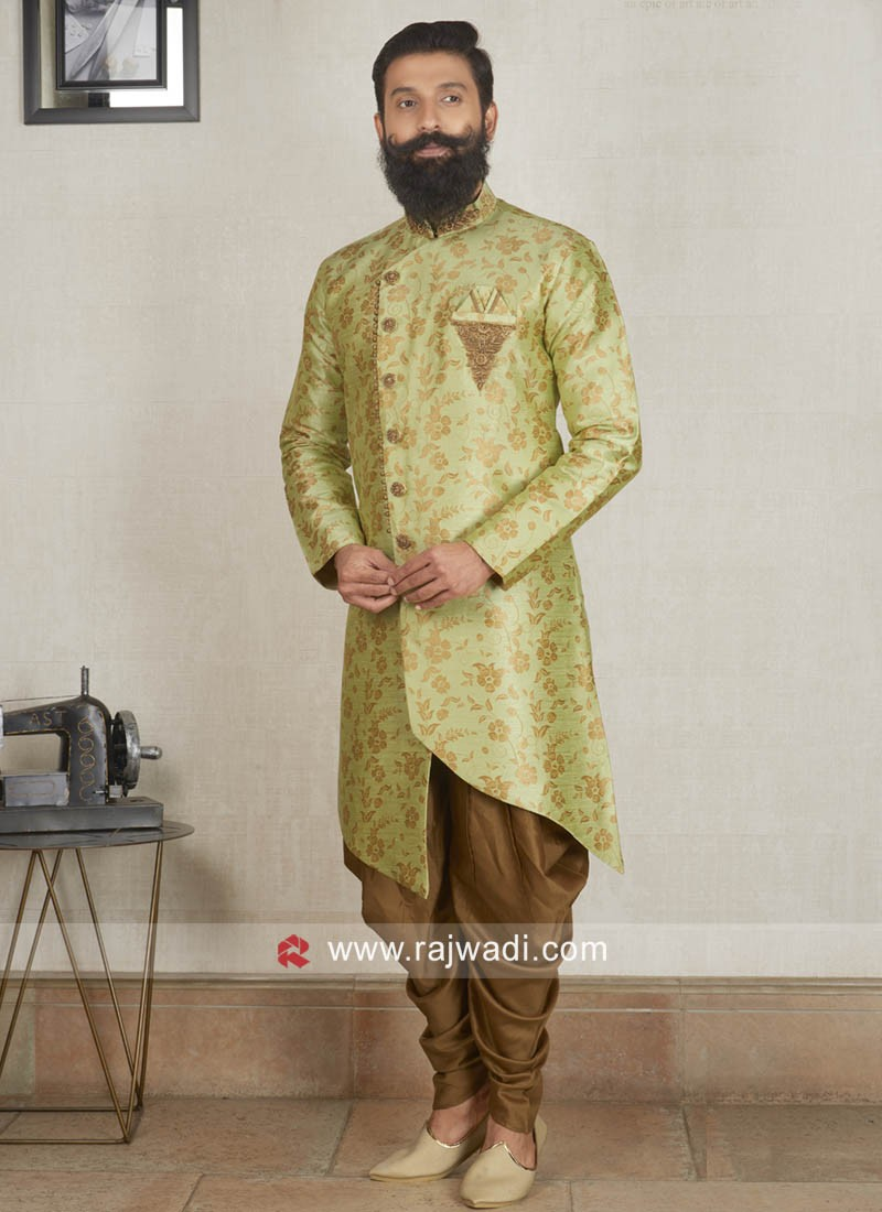 Brocade Silk Fabric Patiala Suit In Pista Green