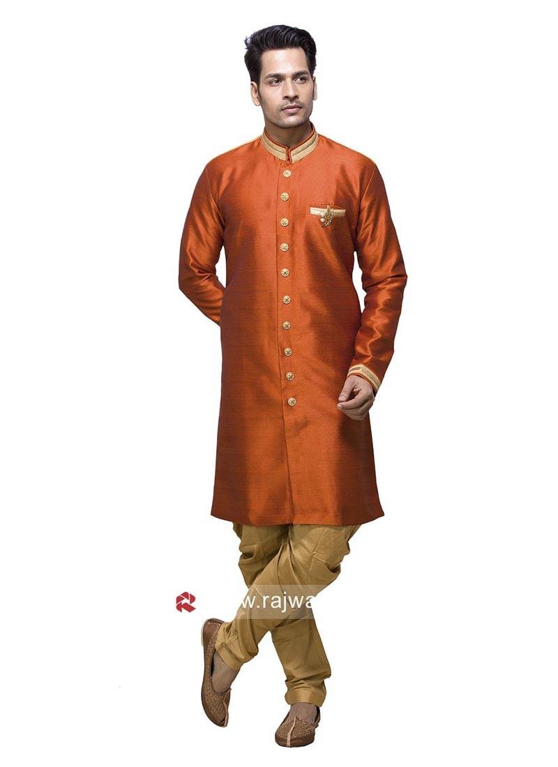 Art Silk Fabric Patiala Suit In Orange Color