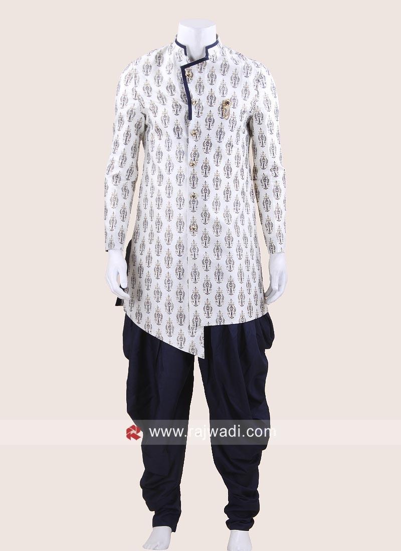 Art Silk Fabric Indo Western In White