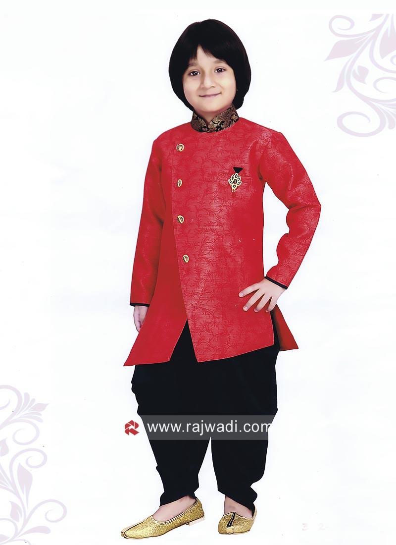 Art Silk Fabric Red Indo Western