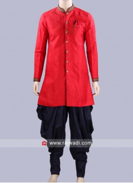 Art Silk Fabric Red Patiala Suit