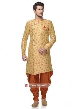 Stylish Round Neck Golden Yellow Patiala Suit