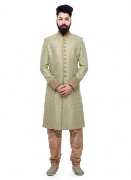 Art Silk Fabric Sherwani In Green Color