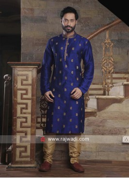 Slub Silk Fabric Blue Color Kurta Set