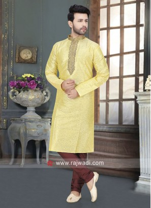 Art Silk Fabric Lemon Yellow Color Kurta Set