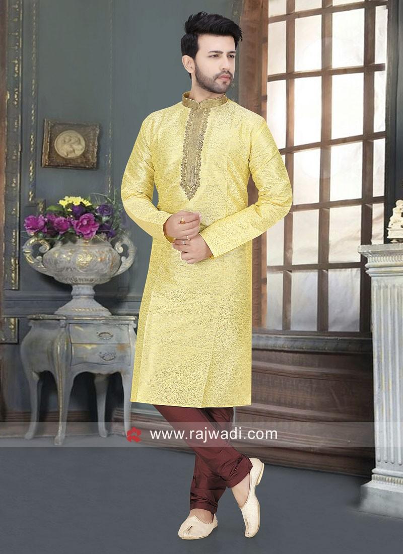 Art Silk Fabric Lemon Yellow Color Kurta Set